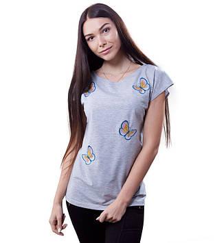 Женская серая футболка в бабочки (размеры XS-2XL)