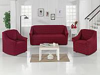 Жаккардовый набор универсальный чехол на диван и два кресла Milano Бордовый