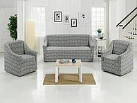 Жаккардовый набор универсальный чехол на диван и два кресла Milano Серый