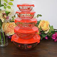 """Набор ёмкостей с крышкой для пищевых продуктов """"Red roses"""" (120,220,360,480,840 мл.), фото 1"""