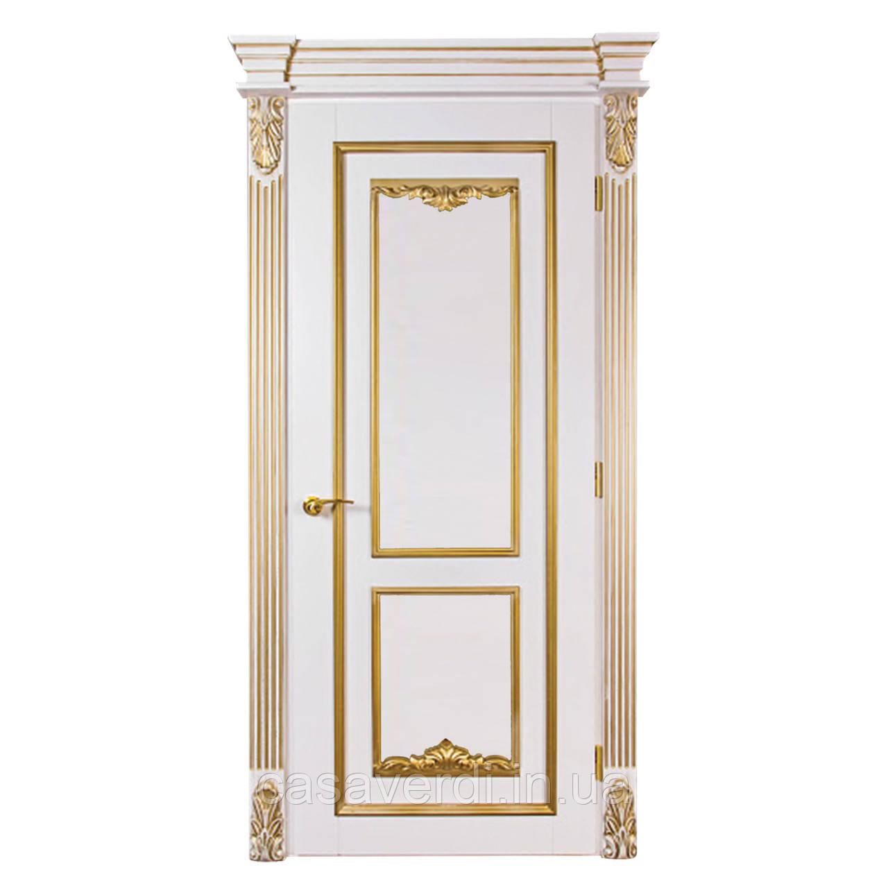Межкомнатная дверь белая с золотой патиной Casa Verdi Bourbon 2 из  массива ясеня