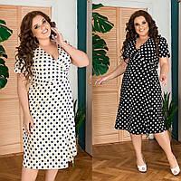Трендовое красивое летнее женское платье на запах в горох софт 48-50 52-54 56-58 60-62 черный бежевый
