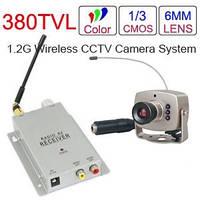 Цветная CCTV беспроводная камера видеонаблюдения с приемником сигнала ресивером и ИК-подсветкой 6 светодиодов
