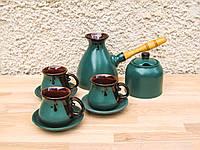Набір кавовий Великий на 3 особи з цукерничкою та блюдцями зелений