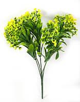 """Желтая""""спирея 31см""""искусственный куст зелени для украшения помещений и рукоделия"""