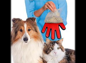 Перчатка для вычесывания шерсти правая Красная