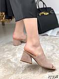 Женские шлепанцы сабо на каблуке, эко замш, в расцветках, фото 2