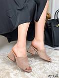 Женские шлепанцы сабо на каблуке, эко замш, в расцветках, фото 4