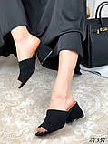 Женские шлепанцы сабо на каблуке, эко замш, в расцветках, фото 5