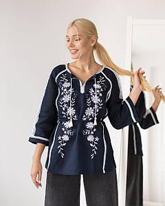 Жіноча вишита  блуза Катерина синя