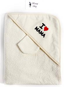 Полотенце махровое с капюшоном RoyalBaby 80x80 см I Love Mama