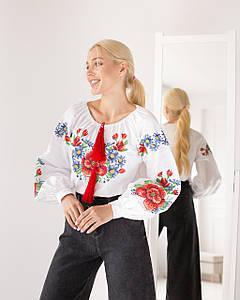 Блуза жіноча з вишивкою Мальва біла