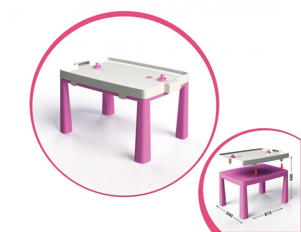 Детский игровой стол с настольным хоккеем 04580/1/2/3/4/5, 2в1 (Розовый)