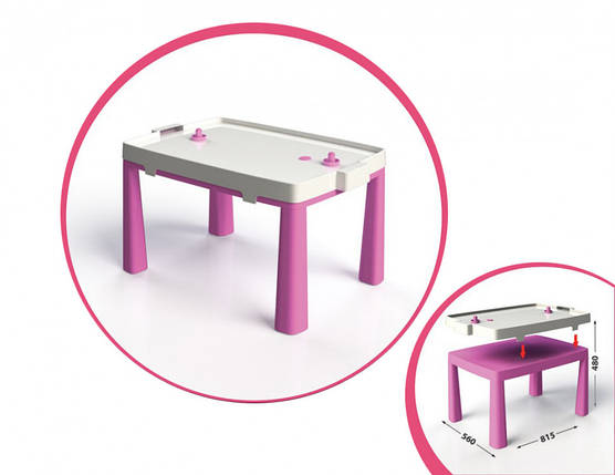 Детский игровой стол с настольным хоккеем 04580/1/2/3/4/5, 2в1 (Розовый), фото 2