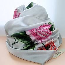 """Ніжна шовкова шаль (шарф) """"ТРОЯНДИ"""" (Ш180смхД92см)"""