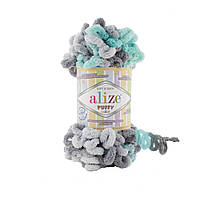 Пряжа с петлями петельками Alize Puffy Color 6076 (Ализе Пуффи Колор Алізе Пуффі) для вязания без спиц руками