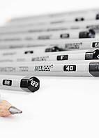 Набор простых чернографитных карандашей Marco Raffine 7000-12CB 4H-4B Марко Рафин 12 цветов