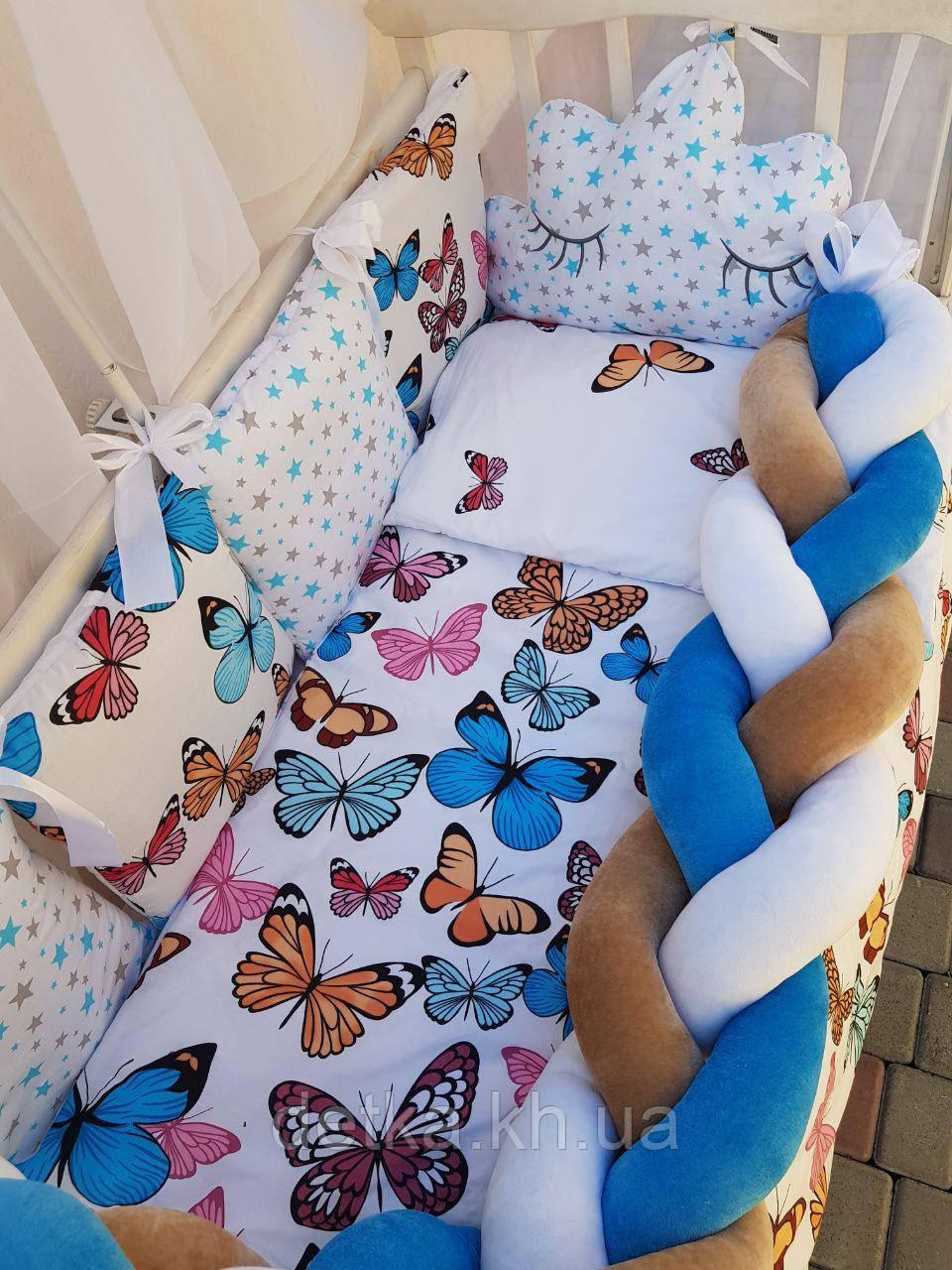 """Комплект постільний """"Koss"""" в дитяче ліжечко, з бортиками і балдахіном"""
