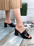Женские шлепанцы сабо на каблуке, эко кожа, в расцветках, фото 7