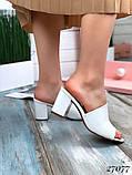 Женские шлепанцы сабо на каблуке, эко кожа, в расцветках, фото 5