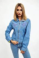 Джинсовая куртка женская укороченная на молнии с вышивкой (светло-голубой, р.S,XL)