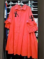 Красное платье-блузон с рубашечным воротником и двойной оборкой на нрукаве Darkwin
