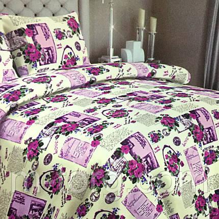 """""""Розы"""" Комплект постельного белья полуторный 150/210 см, нав-ки 70/70, ткань сатин, 100% состоит из хлопка, фото 2"""
