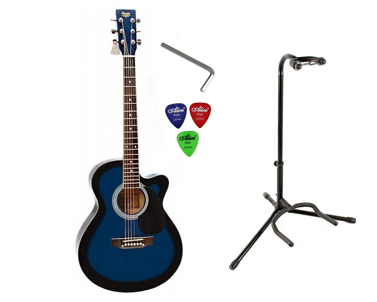 Набір акустична гітара Bandes AG-851C BL 39+ стійка