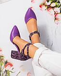 Кожаные босоножки женские на каблуке, фото 3