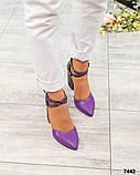 Кожаные босоножки женские на каблуке, фото 4