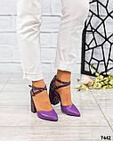 Кожаные босоножки женские на каблуке, фото 6