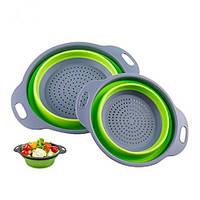 Дуршлаг силиконовый складной Collapsible filter baskets 20см, с ручками, дуршлаг-сито на раковину, большая миска дуршлаг