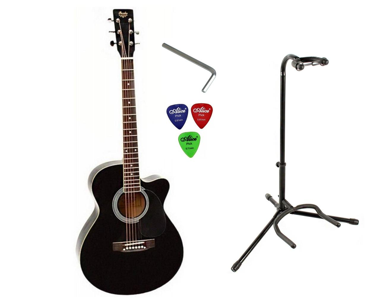 Набір акустична гітара Bandes AG-851C BK 39+стійка