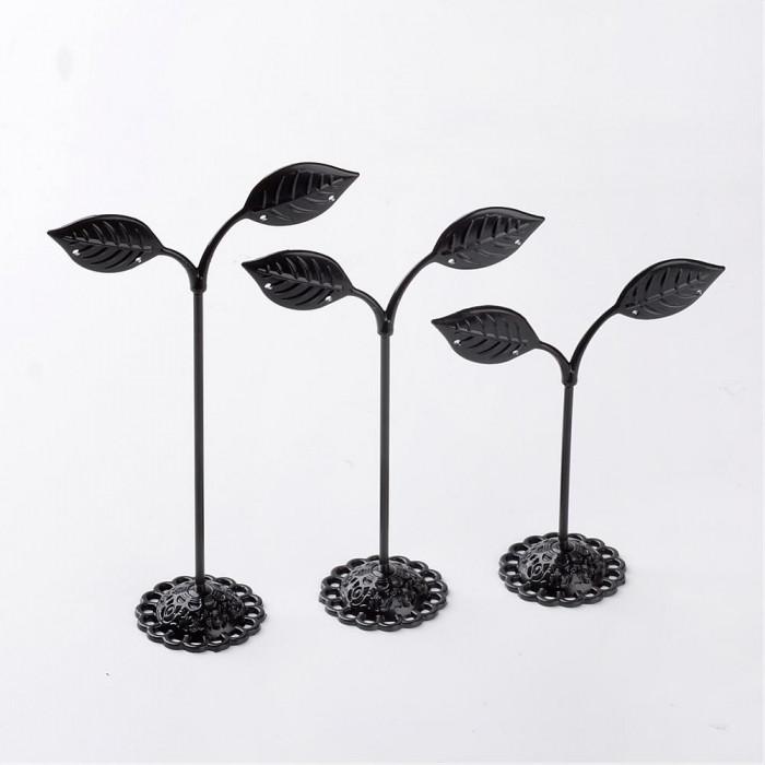 Подставки для Сережек, Железные, Цвет: Черный, Размер: 135-97х85х35мм, набор/3шт