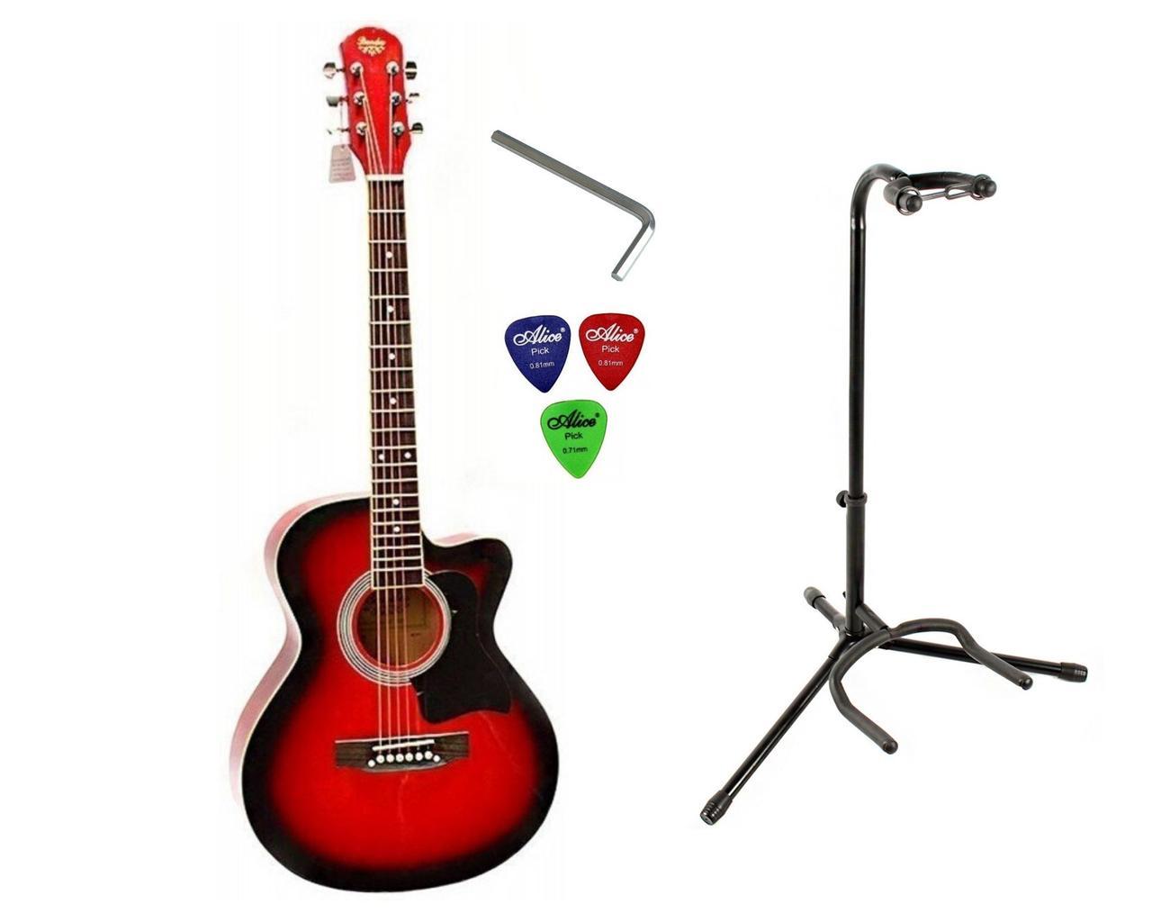 Набор акустическая гитара Bandes AG-851C RD 39+ стойка