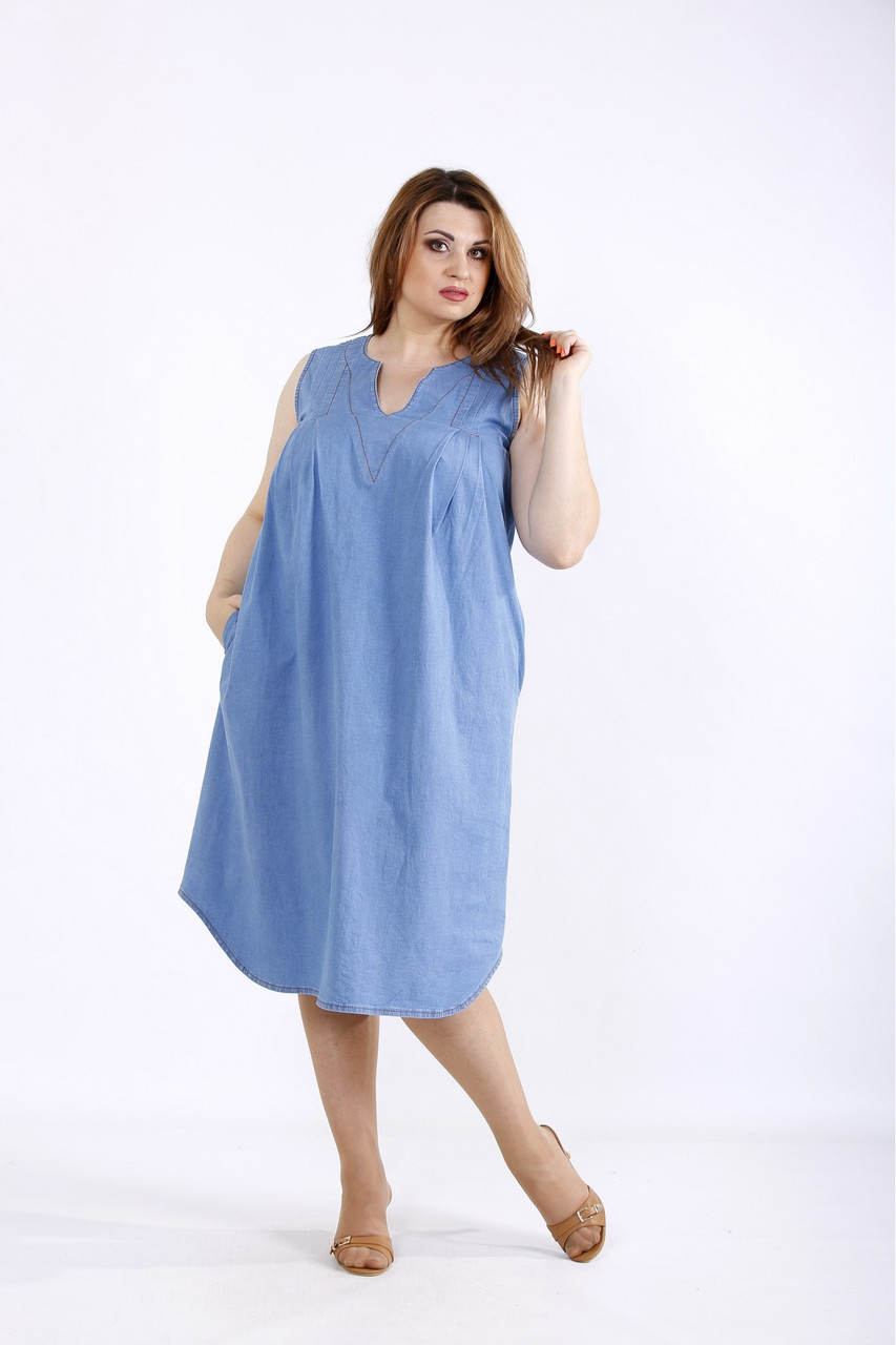 Джинсове легке плаття з 42 по 74 розмір