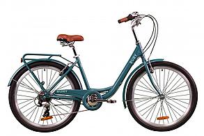 """Велосипед Dorozhnik RUBY  26"""", рама-17"""" планет., изумрудный с задн.багажн. St, крыло St 2020"""