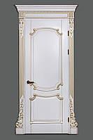 Межкомнатная дверь Casa Verdi Barocco 3 из массива ольхи белая c золотой патиной глухая