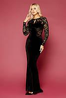 Длинное женское вечернее платье черного цвета с вырезом на спине