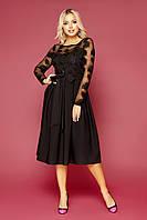 Красивое вечернее платье женское черное с прозрачными рукавами