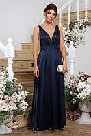 Красивое вечернее платье женское в пол синего цвета