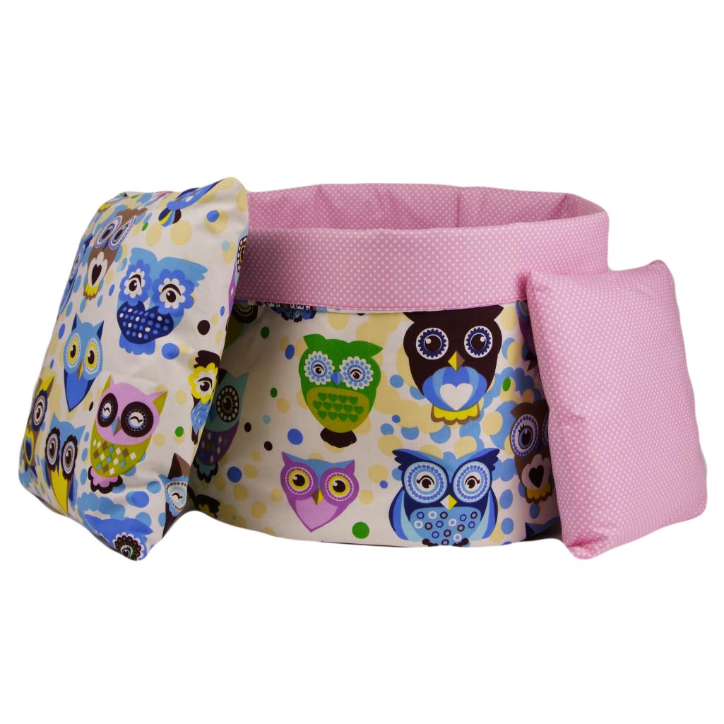Комплект для декора комнаты 004 МПП (сказочные совы голубые /горох на розовом)