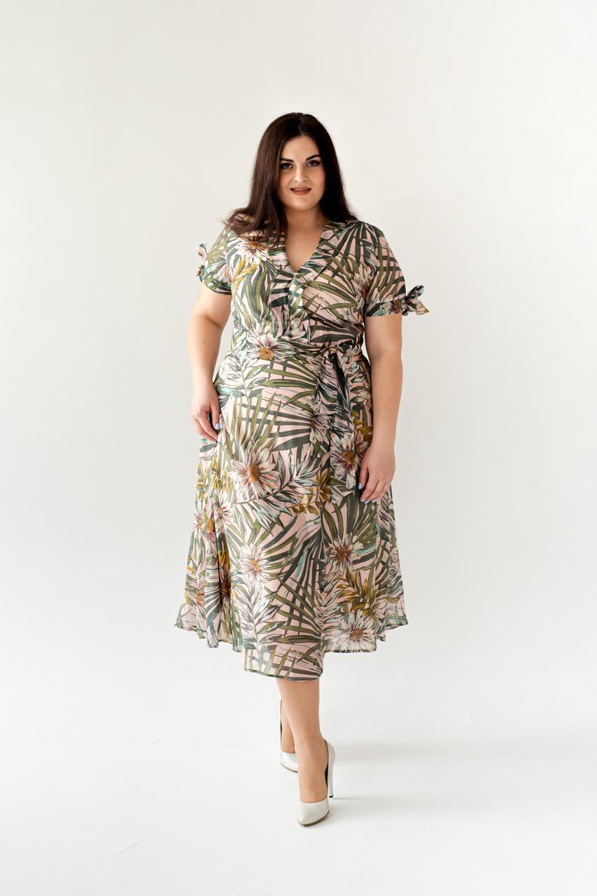 Летнее платье с цветочным принтом пальмы