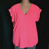 Женская блуза F&F, без рукава, ярко -  розовый креп-шифон, большой размер 52/54