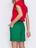 Льняные  шорты  с  поясом на резинке и косыми карманами  ЛЕТО, фото 8