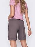 Льняные  шорты  с  поясом на резинке и косыми карманами  ЛЕТО, фото 5