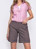 Льняные  шорты  с  поясом на резинке и косыми карманами  ЛЕТО, фото 4