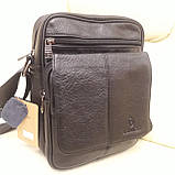 Городская черная мужская сумка из натуральной кожи, фото 2