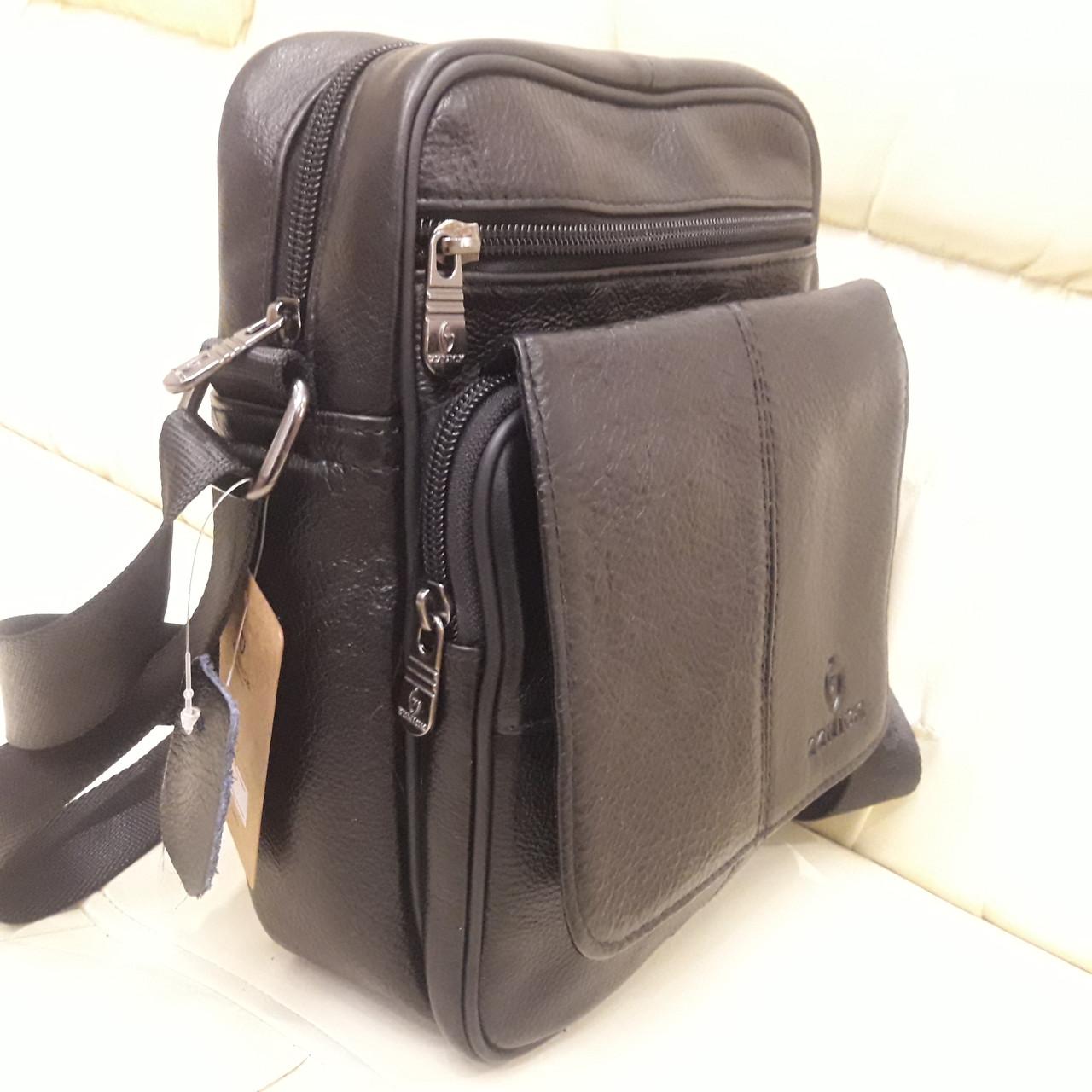 Городская черная мужская сумка из натуральной кожи