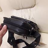 Городская черная мужская сумка из натуральной кожи, фото 4